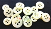 Trocas Shirt Buttons - White, 4-Hole, 2mm Thickness