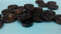 LRH20BN1 DARK BROWN BUFFALO HORN BUTTONS WITH BROWNISH LOGO ON SIDE