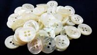 White Mother of Pearl (MOP) Suit Buttons, 4-Hole, Round-Rim