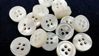 3mm Thickness Mother of Pearl (MOP) Buttons, 4-Hole, White