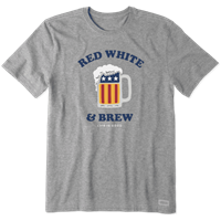 Life is Good Men's Red White and Brew Crusher Tee