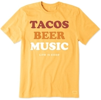 Life Is Good Tacos, Beer, Music Crusher Tee