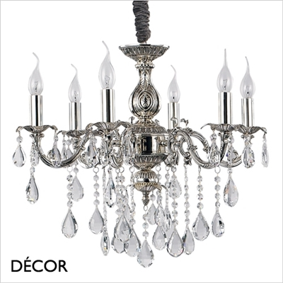 IMPERO CHANDELIER, 6 ARM, CLEAR GLASS & SILVER