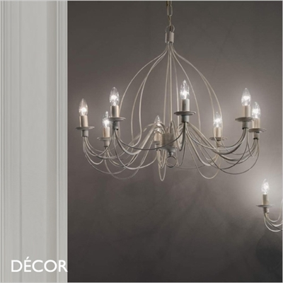 CORTE CHANDELIER, 8 ARM, ANTIQUE WHITE