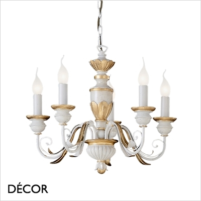 FIRENZE CHANDELIER, 5 ARM, IVORY & GOLD