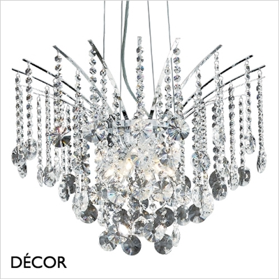 AUDI 77 CHANDELIER, 6 ARM, CLEAR GLASS
