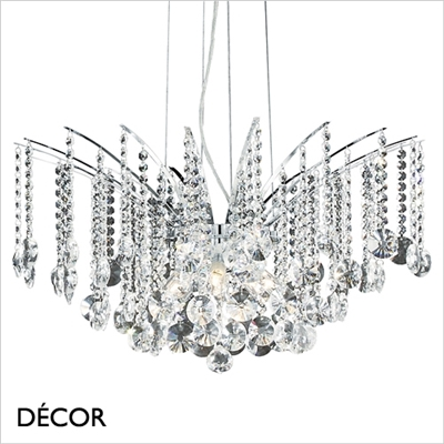 AUDI 77 CHANDELIER, 8 ARM, CLEAR GLASS