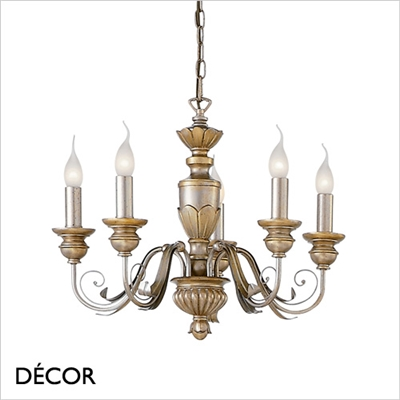 DORA CHANDELIER, 5 ARM, IVORY & GOLD