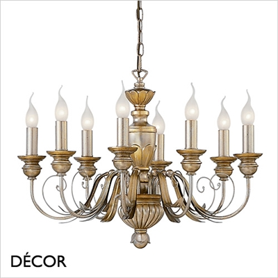 DORA CHANDELIER, 8 ARM, IVORY & GOLD