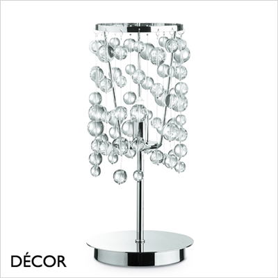 NEVE TABLE LAMP, GLASS & CHROME