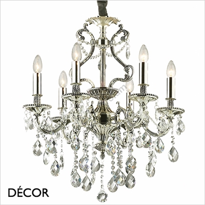 GIOCONDO CHANDELIER, 6 ARM, CLEAR GLASS & SILVER