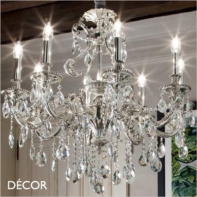 GIOCONDO CHANDELIER, 8 ARM, CLEAR GLASS & SILVER