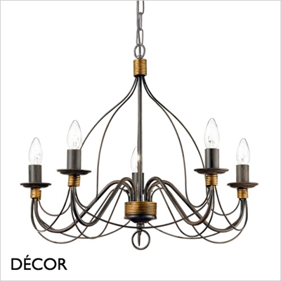 CORTE CHANDELIER, 5 ARM, ANTIQUE BLACK RUSSET