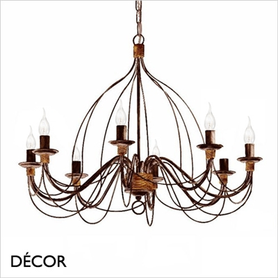 CORTE CHANDELIER, 8 ARM, ANTIQUE BLACK RUSSET