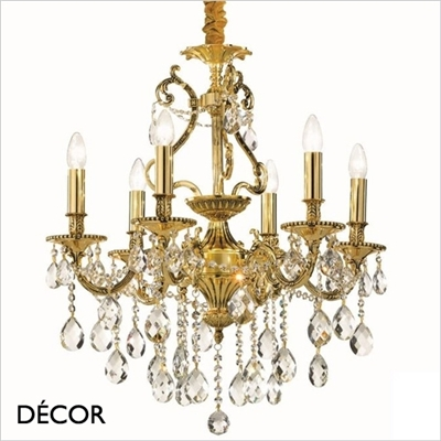 GIOCONDO CHANDELIER, 6 ARM, CLEAR GLASS & GOLD