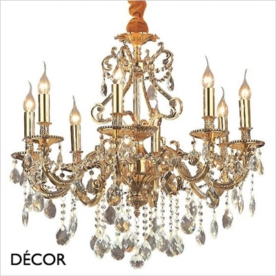 GIOCONDO CHANDELIER, 8 ARM, CLEAR GLASS & GLOD