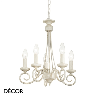 BRANDY CHANDELIER, 5 ARM, ANTIQUE WHITE