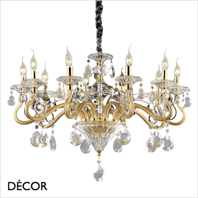 NEGRESCO CHANDELIER, 10 ARM, CLEAR GLASS & GOLD