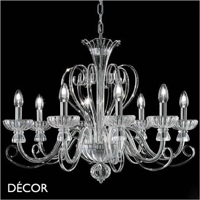 ALEXANDER CHANDELIER, 8 ARM, CLEAR GLASS