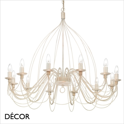 CORTE CHANDELIER, 12 ARM, ANTIQUE WHITE
