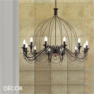 CORTE CHANDELIER, 12 ARM, ANTIQUE BLACK RUSSET