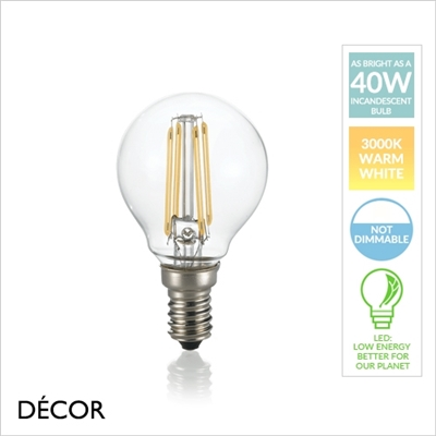 E14 4W LED FILAMENT, GOLF BALL, DESIGNER BULB