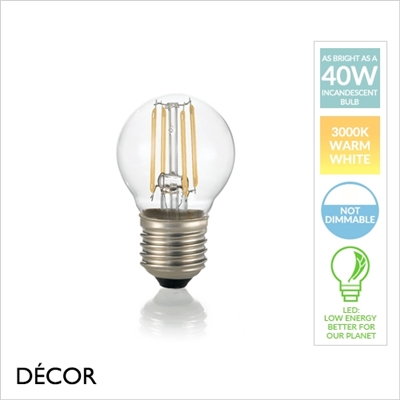 4W E27 LED FILAMENT, DIMMABLE, GOLF BALL, DESIGNER BULB