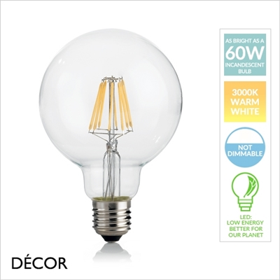 8W E27 95mm LED FILAMENT GLOBE DESIGNER BULB