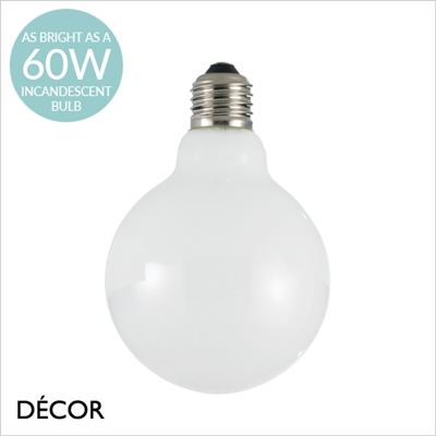 8W E27 95mm LED WHITE GLOBE DESIGNER BULB