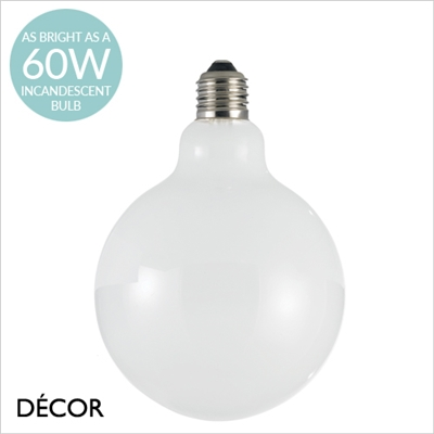 8W E27 125mm LED WHITE GLOBE DESIGNER BULB