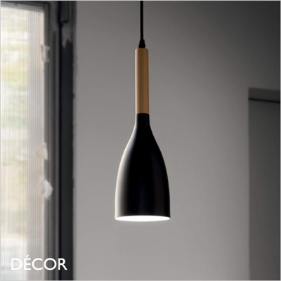 MANHATTAN PENDANT LIGHT, BLACK & WOOD
