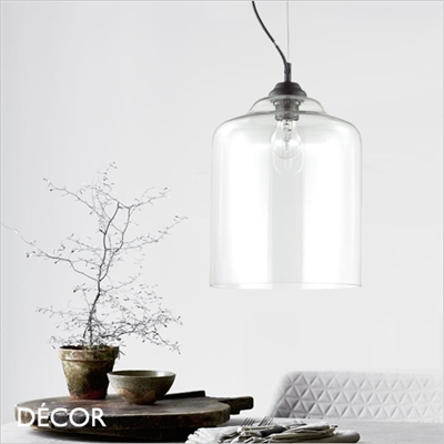 BISTRO PLATE PENDANT LIGHT, CLEAR