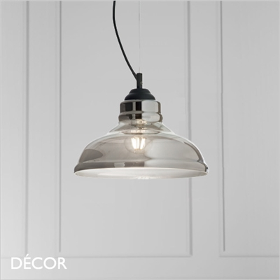 BISTRO PLATE PENDANT LIGHT, SMOKED
