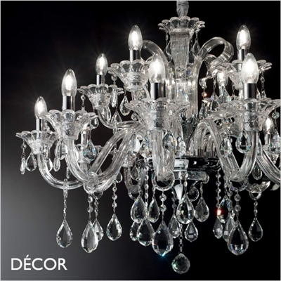 COLOSSAL CHANDELIER, 15 ARM, CLEAR GLASS