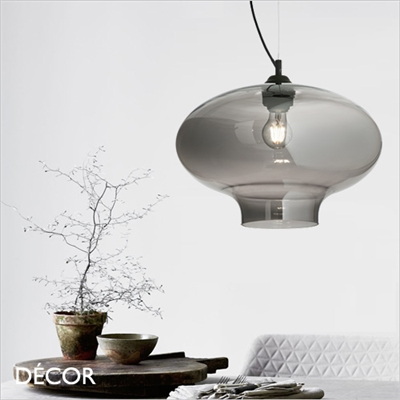 BISTRO ROUND PENDANT LIGHT, SMOKED