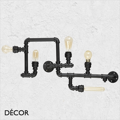 PLUMBER WALL OR CEILING, BLACK, FIVE LAMPS