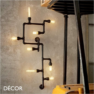PLUMBER WALL OR CEILING, BLACK, EIGHT LAMPS