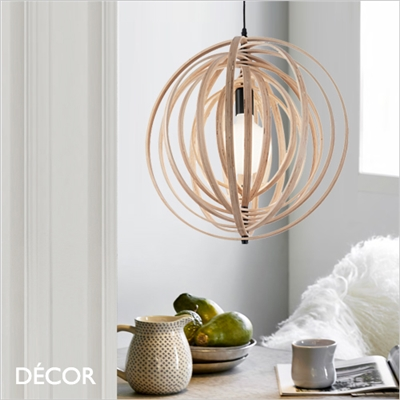 DISCO PENDANT LIGHT, WOOD