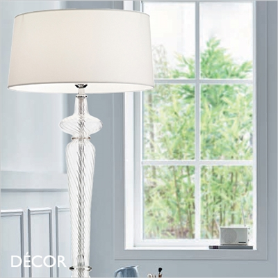 FORCOLA GLASS FLOOR LAMP, WHITE SHADE