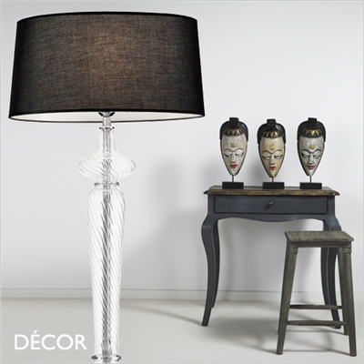 FORCOLA GLASS FLOOR LAMP, BLACK SHADE