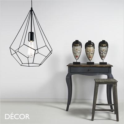 AMPOLLA, DIAMOND CAGE  PENDANT LIGHT, BLACK