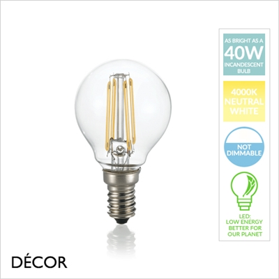 E14 4W LED FILAMENT, GOLF BALL, NEUTRAL WHITE