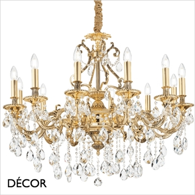 GIOCONDA CHANDELIER, 12 ARM, CLEAR GLASS & GOLD