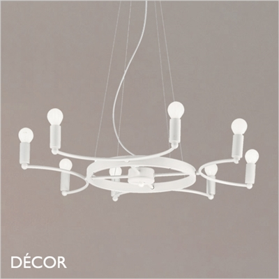 SPACE CHANDELIER, 8 ARM, WHITE