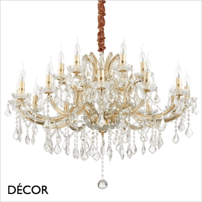 NAPOLEON CHANDELIER, 18 ARM, CLEAR GLASS & GOLD