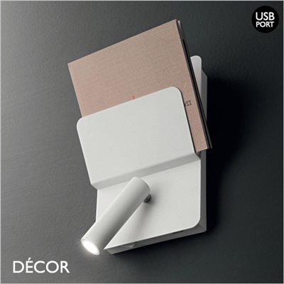 READ WALL LIGHT, USB PORT, WHITE