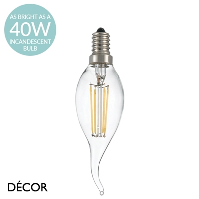 E14 4W LED FILAMENT, FLAME TIP CANDLE DESIGNER BULB