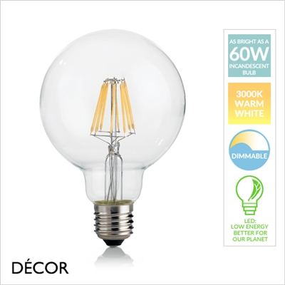 8W E27 95mm LED FILAMENT GLOBE, DIMMABLE