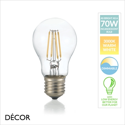 8W E27 LED FILAMENT BULB, WARM WHITE, DIMMABLE