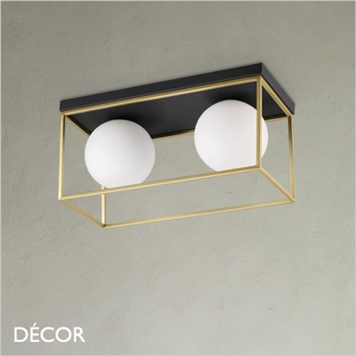 LINGOTTO CEILING LIGHT, TWO GLOBES, BRASS